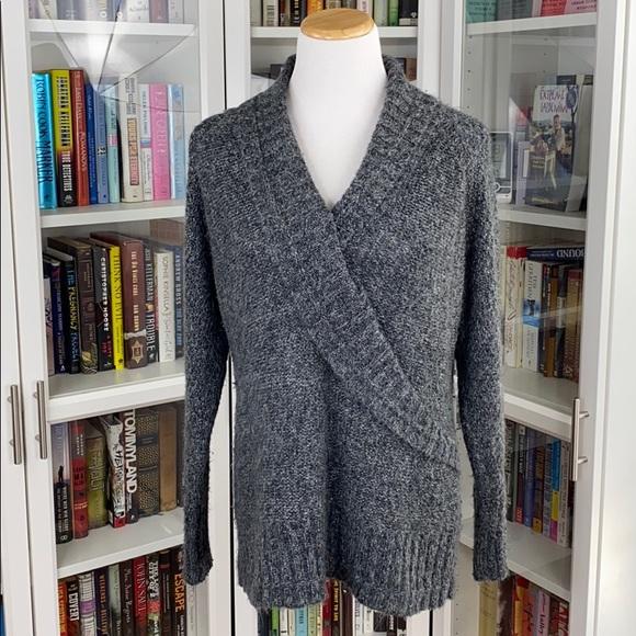 Sonoma Gray Faux Wrap Warm Chunky V-Neck Sweater